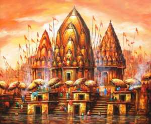 Spiritual Banaras | Realistic Cityscape Painting by Ananda Das | Buy Original Art | Art Rental | Sell Arts Online UAE - ArtSmiley