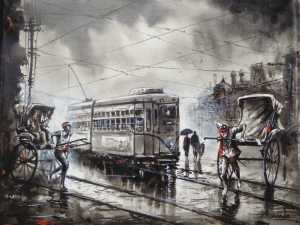 Heritage Kolkata | Realistic Cityscape Painting by Ananda Das | Buy Original Art | Art Rental | Sell Arts Online UAE - ArtSmiley