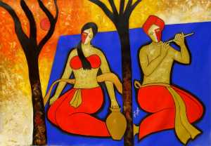 Romantic Evening | Figurative Abstract Art by Chetan Katigar | Buy Original Art | Art Rental | Sell Arts Online UAE - ArtSmiley