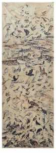 Birds in Landscape - Landscape Drawing with Vegetable Colors on cloth by Moumita Das | Buy Affordable Original Art | Paintings | Art Rentals | Art Prints | Sell International Arts Online Dubai UAE - Art Smiley