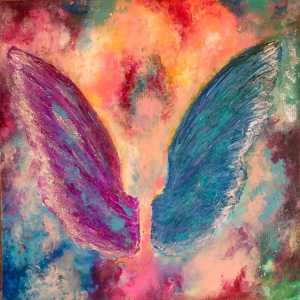 An Untold Story - Multicolor Expressionistic Spirituality Painting by Neda Matian