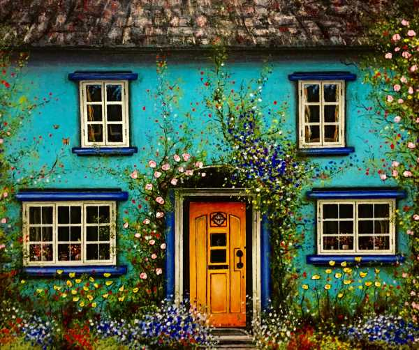 Garden House - Multicolor Realistic Painting by Feliks Kaparchuk