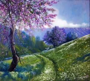 Spring in the mountains - Painting by Erik Davtyan