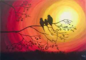Birds on a branch silhouette