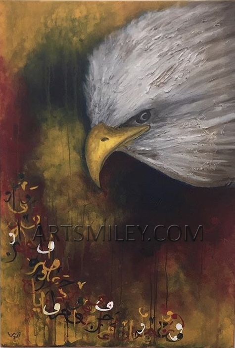 Arabian Eagle Calligraphy Artwork