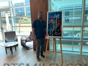 Artist Imran calligraphy works at hilton exhibition